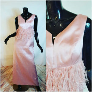 Stunning Pink Evening Gown with Ostrich Feathers